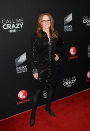 Melissa Leo sparkled on the red carpet with this black sequin-embellished dress.