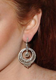 Lindsay Lohan sparked in a pair of dangling diamond earrings at the premiere of 'Liz & Dick.'