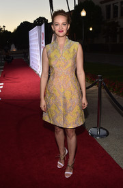 Jess Weixler looked radiant in her Josie Natori jacquard print dress at the premiere of 'Sister Cities.'