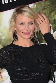 Cameron Diaz added a pop of bright coral polish for the premiere of 'What to Expect When You're Expecting.'