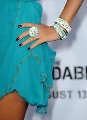 Bai Ling paired her blue dress with sparkling bangle bracelet.