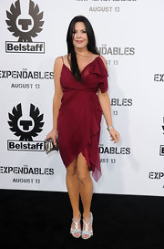 Christina Campbell paired her long black hair with a chiffon dress.