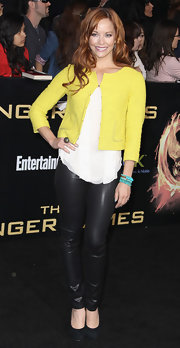 Amy Paffrath brightened her leather look with a cropped yellow cardigan.