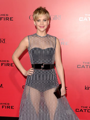 Jennifer Lawrence carried a classic black Roger Vivier box clutch to the 'Catching Fire' LA premiere.