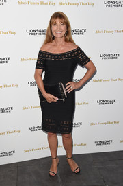 Jane Seymour looked ageless at the premiere of 'She's Funny That Way' in a black off-the-shoulder bandage dress with a cutout neckline, sleeves, and hem.