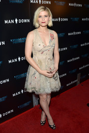 Kate Mara looked downright adorable in this embroidered nude cocktail dress by Christian Dior at the premiere of 'Man Down.'