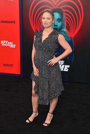 Erika Christensen attended the premiere of 'The Spy Who Dumped Me' wearing a dotted and ruffled maternity dress.
