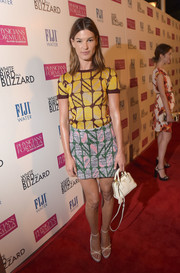 Hanneli Mustaparta was laid-back in a patterned knit top during the 'White Bird in a Blizzard' premiere.