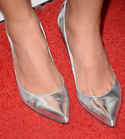A pair of silver pumps topped off Morena Baccarin's red carpet look at 'To the Wonder' premiere.