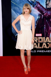 Ryan Simpkins kept it demure in a little white lace dress during the 'Guardians of the Galaxy' premiere.