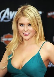 Renee Olstead arrived at the premiere of 'The Avengers' wearing her long blond locks causally styled.