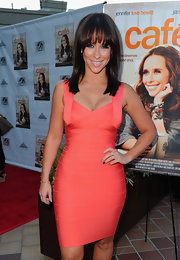 Jennifer Love Heweitt donned a sexy bandage dress for the premiere of 'Cafe.' She finished off the look with sleek and straight tresses.