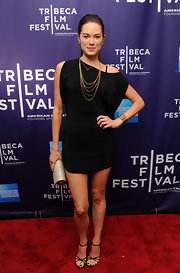 Jamie Tisdale showed off this black off the shoulder dress while hitting the red carpet at the Tribeca Film Festival.