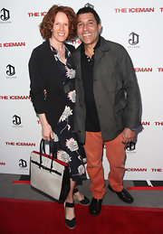 Ursula Whittaker attended the 'Iceman' premiere carrying a stylish two-tone crocodile tote.
