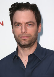 Justin Kirk wore tousled curls when he attended the 'Iceman' premiere.