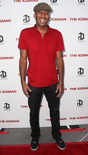 James Lesure was low-key in a red polo shirt and jeans at the premiere of 'The Iceman.'