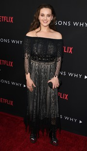 Katherine Langford was a boho babe in an off-the-shoulder black lace dress by Alexander McQueen at the premiere of '13 Reasons Why.'