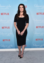 Lauren Graham matched her frock with a pair of black T-strap pumps.