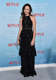 Alexis Bledel looked oh-so-pretty in a black and gold polka-dot halter gown by Cynthia Rowley at the premiere of 'Gilmore Girls: A Year in the Life.'