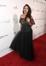 Rosario Dawson looked festive in an off-the-shoulder gown with a floral bodice and a tulle skirt at the premiere of 'Krystal.'