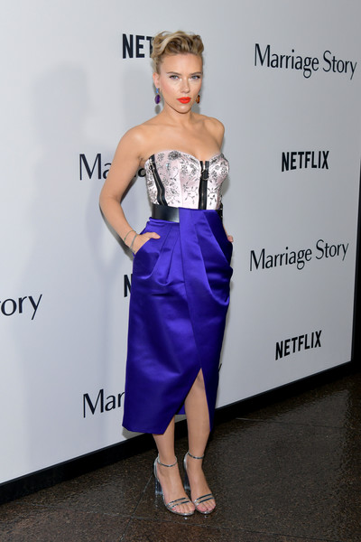 Scarlett Johansson pulled her look together with a pair of silver Louis Vuitton sandals.