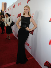 Deborah Ann Woll oozed classic elegance in a sleeveless black evening dress at the premiere of 'Marvel's Daredevil.'