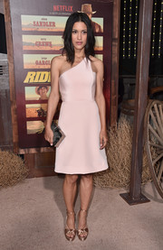 Julia Jones paired her dress with gold satin platform sandals.
