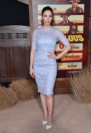 Whitney Cummings was sweet and ladylike at the 'Ridiculous 6' premiere in a lavender lace dress with a pastel-blue underlay.