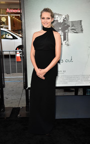 Teresa Palmer oozed elegance in a black halterneck maternity gown by Michael Kors at the premiere of 'Lights Out.'