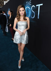 Christian Serratos wore a cool silver strapless frock to the premiere of 'The Host.'