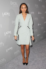 Ashley Madekwe looked seriously chic in a patterned mint-green coat dress during the 'Dior and I' premiere.