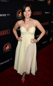 America Ferrera showed her more daring side in a cleavage-baring white strapless dress by Sportmax during the 'Cesar Chavez' premiere.