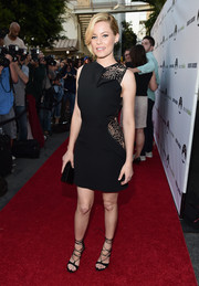 Elizabeth Banks cut an elegant figure at the 'Resident Advisors' premiere in a sleeveless Elie Saab LBD with peekaboo lace panels on the shoulder and waist.