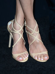 Emma Heming chose a pair of nude strappy sandals for her classy red carpet look.