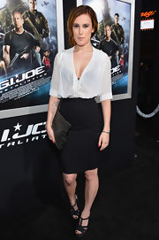 Rumer Willis chose a knee-length pencil skirt for her sophisticated red carpet look.