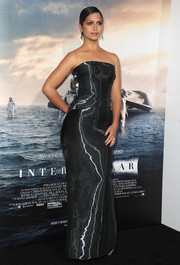 Camila Alves went the vampy route in a shiny black strapless gown by Rubin Singer during the 'Interstellar' premiere.