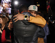 Chris Brown accessorized with a statement watch at the premiere of 'Justin Bieber: Never Say Never.'