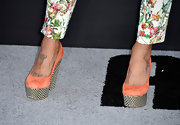 Jessica's chevron and peach wedges oozed quirkiness on the red carpet.