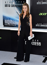 Maria rocked this wide-leg jumpsuit that featured embroidered side detailing at the 'Star Trek Into Darkness' premiere.