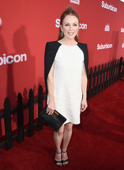 Julianne Moore went minimalist in a caped monochrome mini dress by Givenchy at the premiere of 'Suburbicon.'