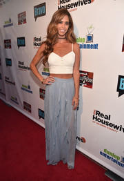 Lydia McLaughlin finished off her look with a pastel-blue maxi skirt.