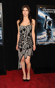 Alexandra showed off a black and white print strapless dress while attending the premiere of 'Percy Jackson & the Olympians'.