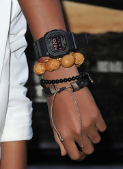 Jaden Smith accessorized with a digital watch and some bracelets at the premiere of 'The Perfect Game.'