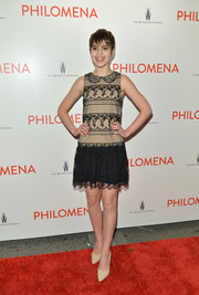 Sami Gayle looked adorable in a sleeveless nude and black lace mini dress at the premiere of 'Philomena.'