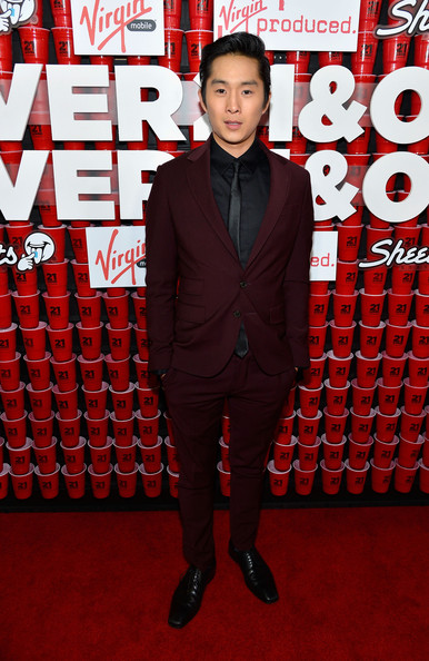 Justin Chon's burgundy suit was totally suave and classy on the red carpet of '21 and Over.'