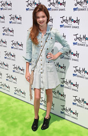 Ciara Bravo toughened up her dress with a faded blue denim jacket at the 'Judy Moody and the Not Bummer Summer' premiere.