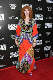 Christina Hendricks cut a colorful figure in a patchwork print maxi dress by Etro at the premiere of 'American Woman.'