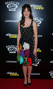 Zooey Deschanel charmed in a vintage mixed-print dress during the premiere of 'The Skeleton Twins.'
