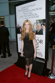 Katherine McNamara oozed loveliness in a little black lace dress during the 'Thanks for Sharing' premiere.