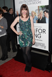 Bryce Dallas Howard wore a print mini dress, which she styled with ankle boots and tights, at the 'Thanks for Sharing' premiere.